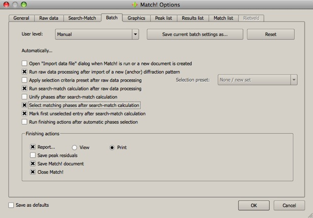 The 'Batch' page of the 'Options' dialog offers a large variety of settings to finetune the automatic data processing.